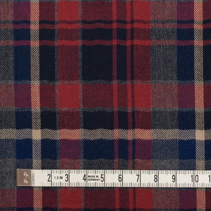 コットン&ポリエステル混×チェック(レッド&チャコールグレー)×ヘリンボーン イメージ4