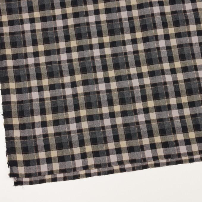 コットン&ポリエステル混×チェック(チャコールグレー&ブラック)×ヘリンボーン イメージ2