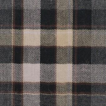 コットン&ポリエステル混×チェック(チャコールグレー&ブラック)×ヘリンボーン サムネイル1