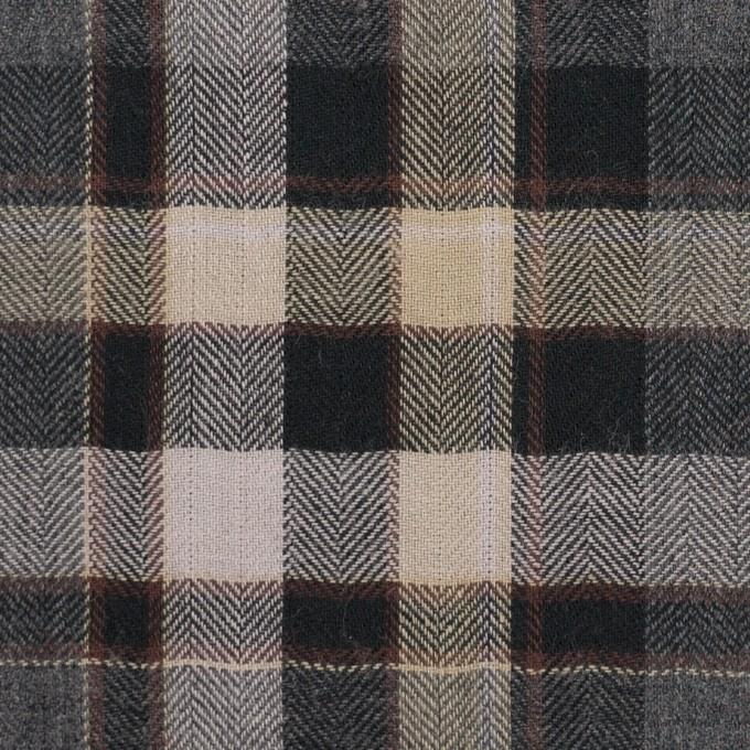 コットン&ポリエステル混×チェック(チャコールグレー&ブラック)×ヘリンボーン イメージ1