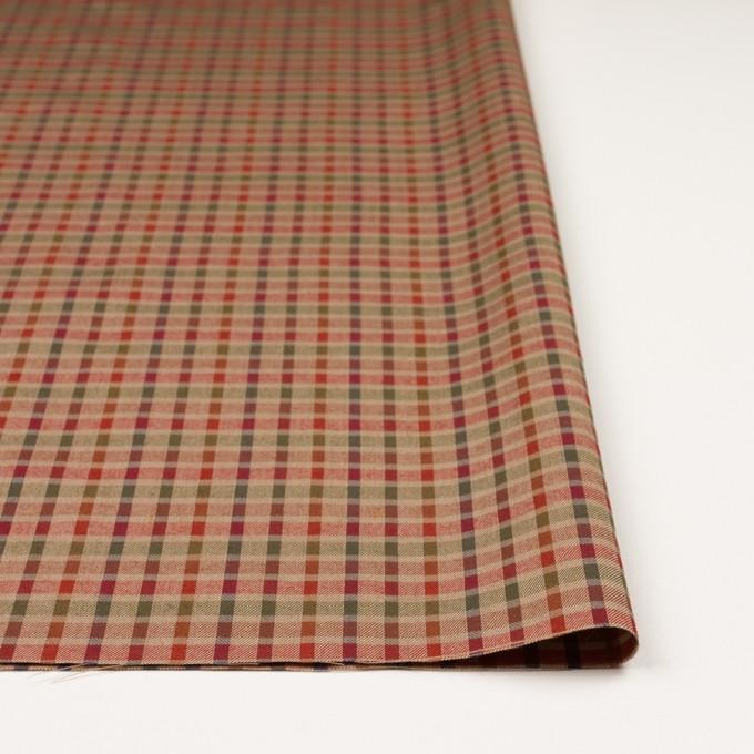 ウール&シルク×チェック(レッド、オレンジ&ティーグリーン)×サージ_全2色 イメージ3