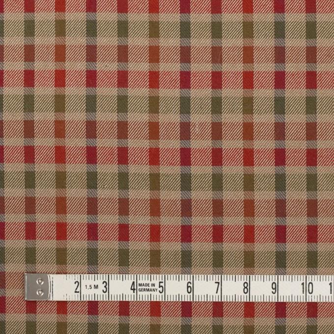 ウール&シルク×チェック(レッド、オレンジ&ティーグリーン)×サージ_全2色 イメージ4