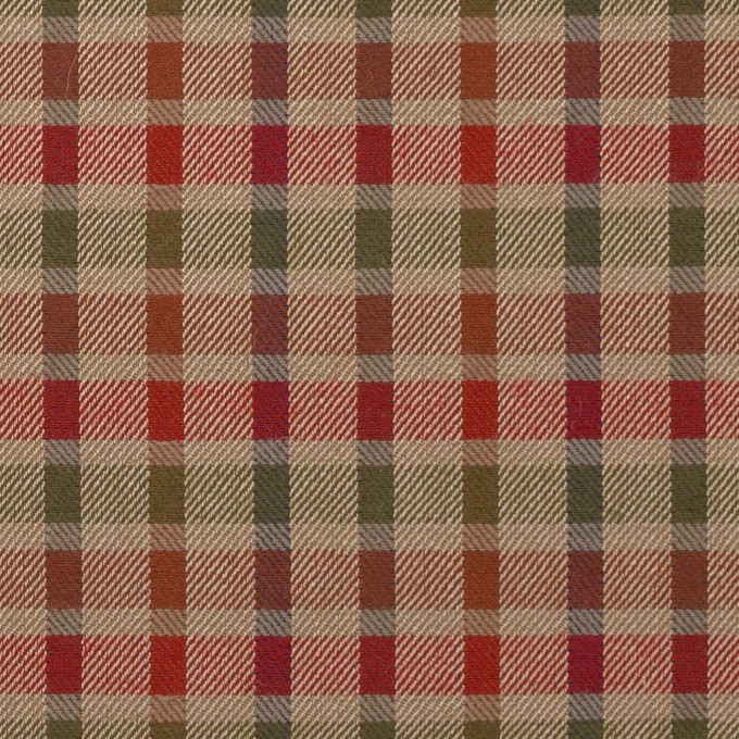 ウール&シルク×チェック(レッド、オレンジ&ティーグリーン)×サージ_全2色 イメージ1