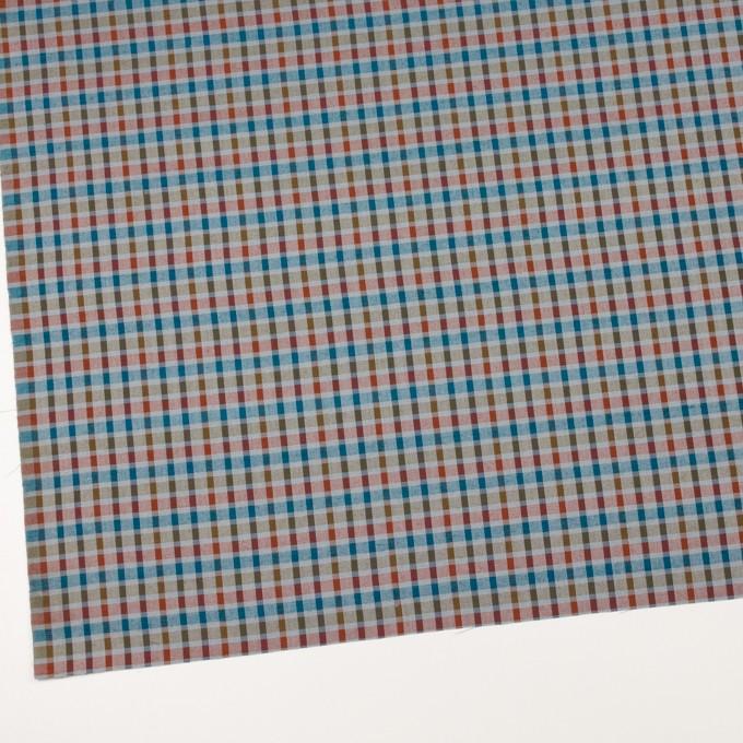 ウール&シルク×チェック(オレンジ、ターコイズ&ティーグリーン)×サージ_全2色 イメージ2