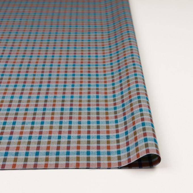 ウール&シルク×チェック(オレンジ、ターコイズ&ティーグリーン)×サージ_全2色 イメージ3