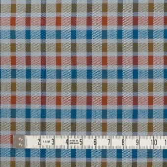 ウール&シルク×チェック(オレンジ、ターコイズ&ティーグリーン)×サージ_全2色 サムネイル4