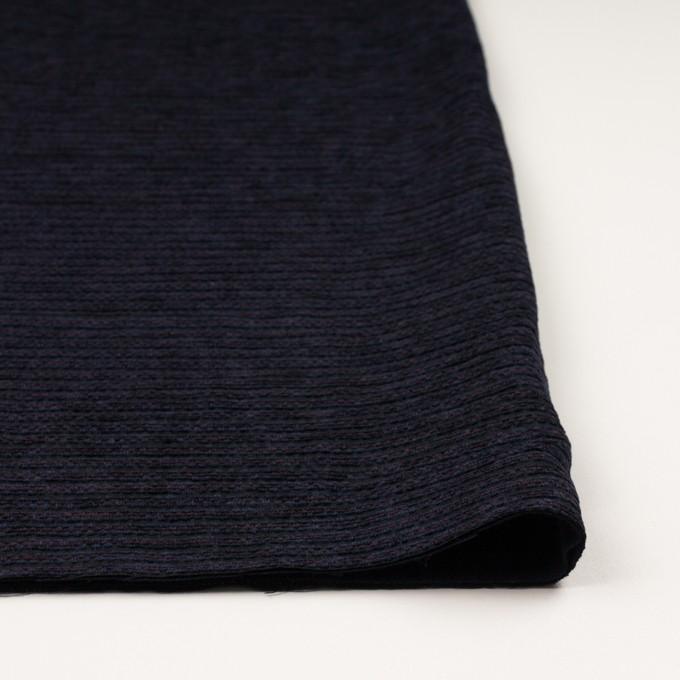 ウール&アクリル×ボーダー(プラム&アイアンネイビー)×Wかわり織 イメージ3