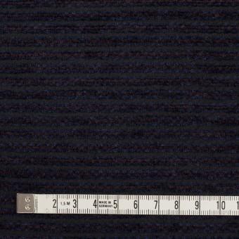 ウール&アクリル×ボーダー(プラム&アイアンネイビー)×Wかわり織 サムネイル4