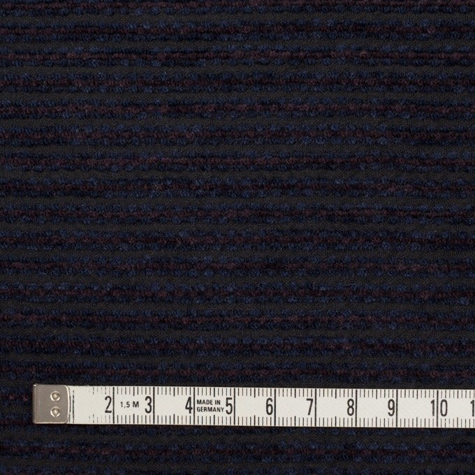 ウール&アクリル×ボーダー(プラム&アイアンネイビー)×Wかわり織 イメージ4