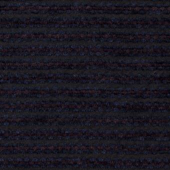 ウール&アクリル×ボーダー(プラム&アイアンネイビー)×Wかわり織 サムネイル1
