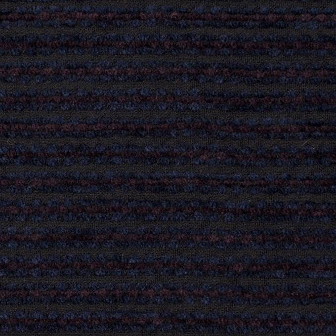 ウール&アクリル×ボーダー(プラム&アイアンネイビー)×Wかわり織 イメージ1