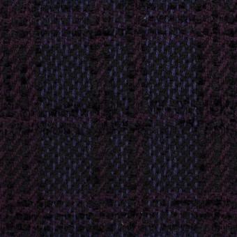 ウール&アクリル×チェック(プラム&バイオレット)×ファンシーツイード サムネイル1