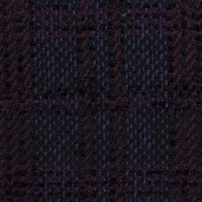ウール&アクリル×チェック(プラム&バイオレット)×ファンシーツイード イメージ1