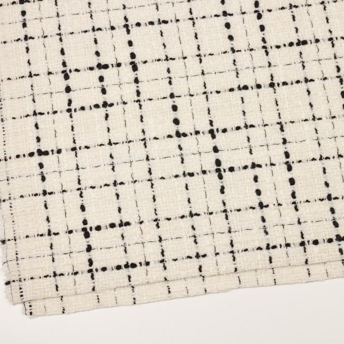 ウール&ビスコース混×チェック(アイボリー&ブラック)×ファンシーツイード_イタリア製 イメージ2