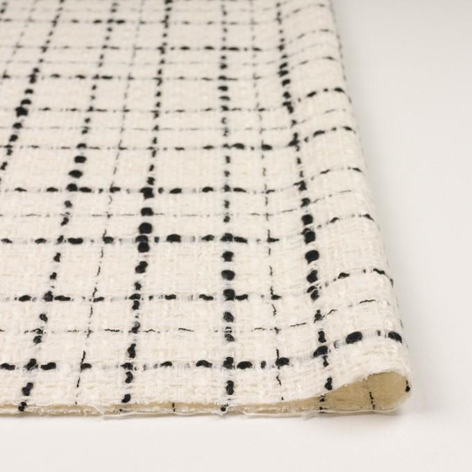 ウール&ビスコース混×チェック(アイボリー&ブラック)×ファンシーツイード_イタリア製 イメージ3