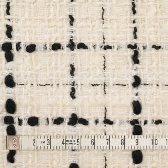 ウール&ビスコース混×チェック(アイボリー&ブラック)×ファンシーツイード_イタリア製 サムネイル4