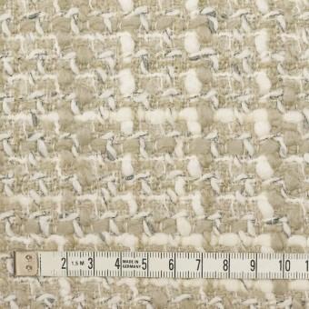 ウール&アクリル×ミックス(アイボリー&グレイッシュベージュ)×ファンシーツイード_イタリア製 サムネイル4