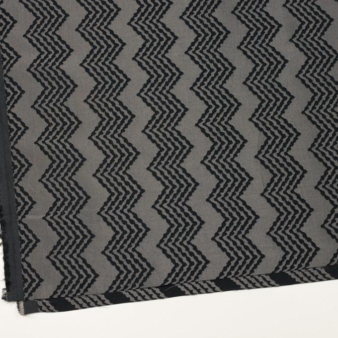コットン&レーヨン×幾何学模様(シルバー&ブラック)×ジャガード イメージ2