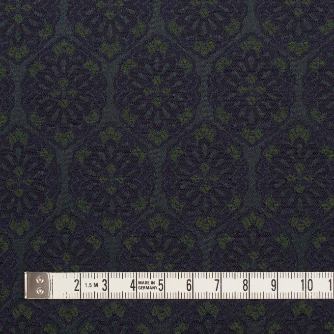 ポリエステル&ポリウレタン混×幾何学模様(ブラック、モスグリーン&ダークネイビー)×サテンジャガード_イタリア製 イメージ4