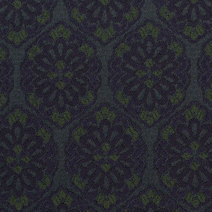 ポリエステル&ポリウレタン混×幾何学模様(ブラック、モスグリーン&ダークネイビー)×サテンジャガード_イタリア製 イメージ1