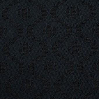 コットン&レーヨン×幾何学模様(ダークネイビー)×サテンジャガード サムネイル1