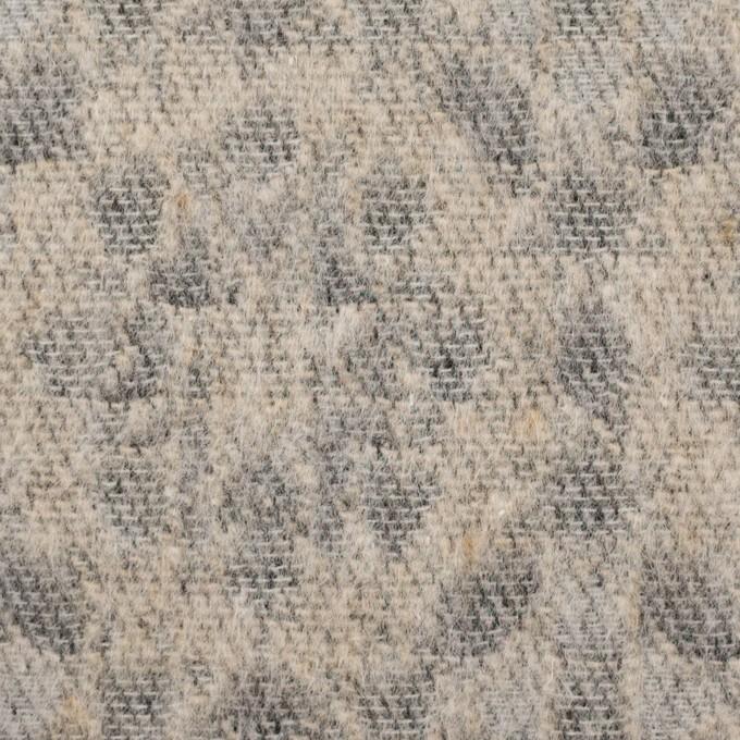 ウール&ポリエステル混×幾何学模様(ベージュ&ブラック)×ジャガード イメージ1