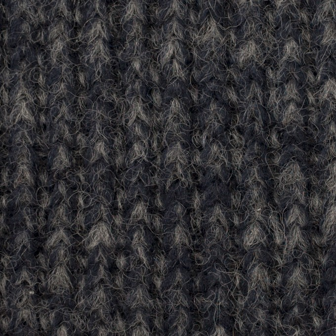 ウール&ポリエステル×ミックス(ダークネイビー&グレー)×バルキーニット イメージ1