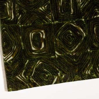 レーヨン×幾何学模様(ブラウン&グリーン)×ベルベット_イタリア製 サムネイル2