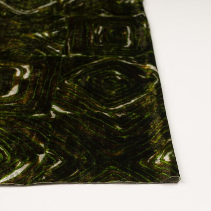 レーヨン×幾何学模様(ブラウン&グリーン)×ベルベット_イタリア製 イメージ3