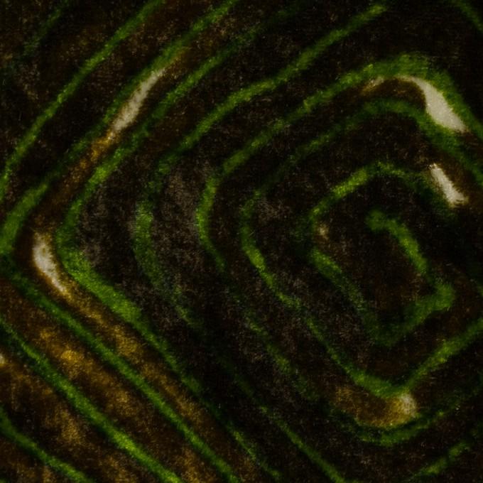 レーヨン×幾何学模様(ブラウン&グリーン)×ベルベット_イタリア製 イメージ1