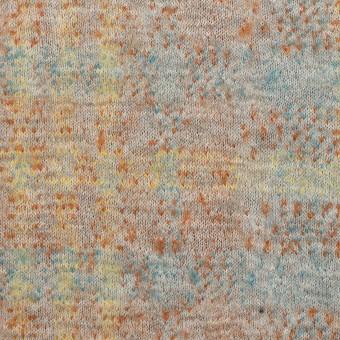 コットン&ウール×チェック(ライトグレー、オレンジ&レモン)×ジャガードニット_全2色