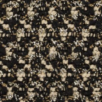 ウール&ポリエステル混×ミックス(クリーム&ブラック)×ファンシーツイード_イタリア製 サムネイル1
