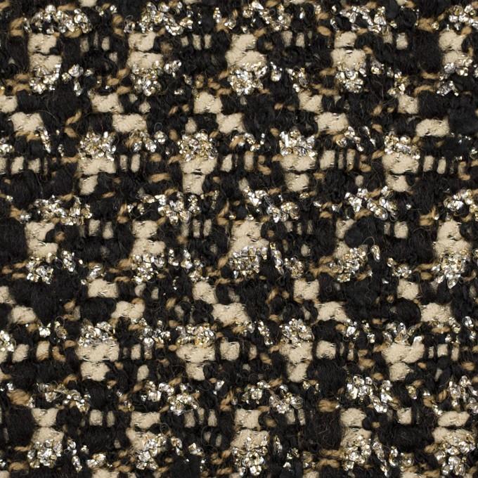 ウール&ポリエステル混×ミックス(クリーム&ブラック)×ファンシーツイード_イタリア製 イメージ1