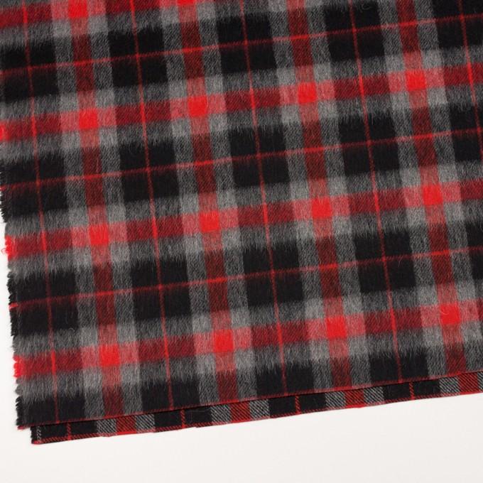ウール&アルパカ混×チェック(レッド、グレー&ブラック)×かわり織_全2色 イメージ2