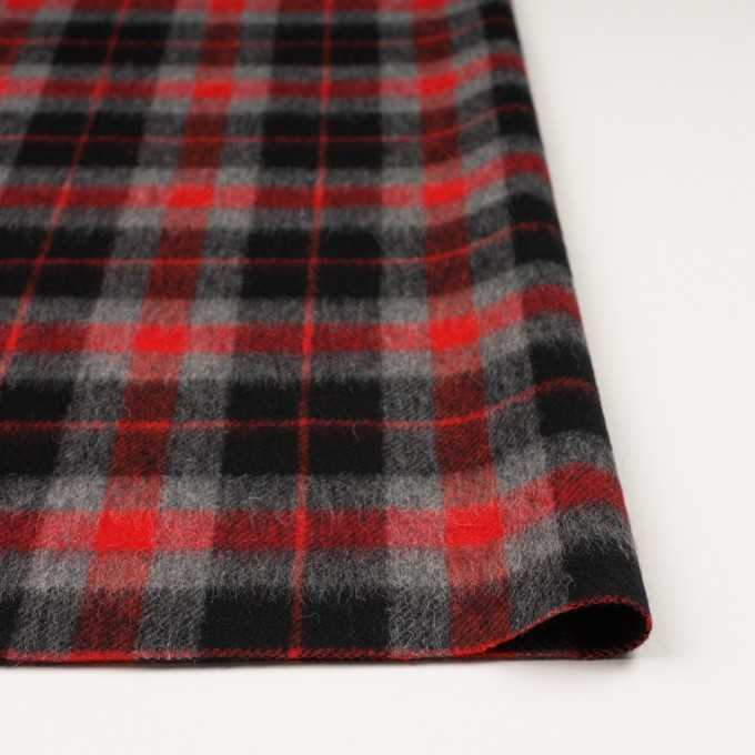 ウール&アルパカ混×チェック(レッド、グレー&ブラック)×かわり織_全2色 イメージ3