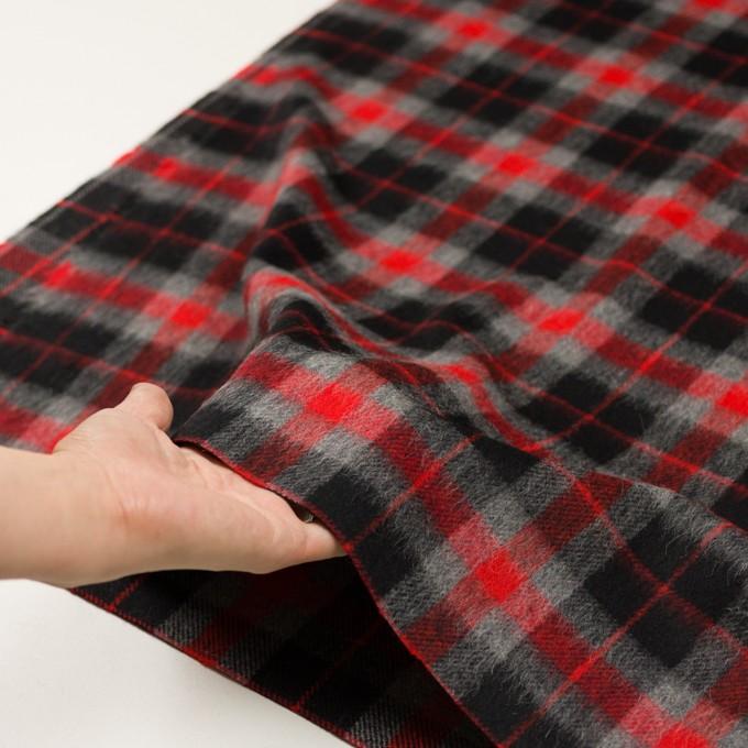 ウール&アルパカ混×チェック(レッド、グレー&ブラック)×かわり織_全2色 イメージ5