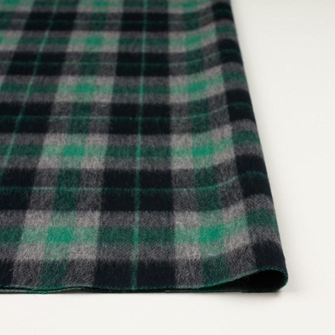 ウール&アルパカ混×チェック(グリーン、グレー&ブラック)×かわり織_全2色 イメージ3