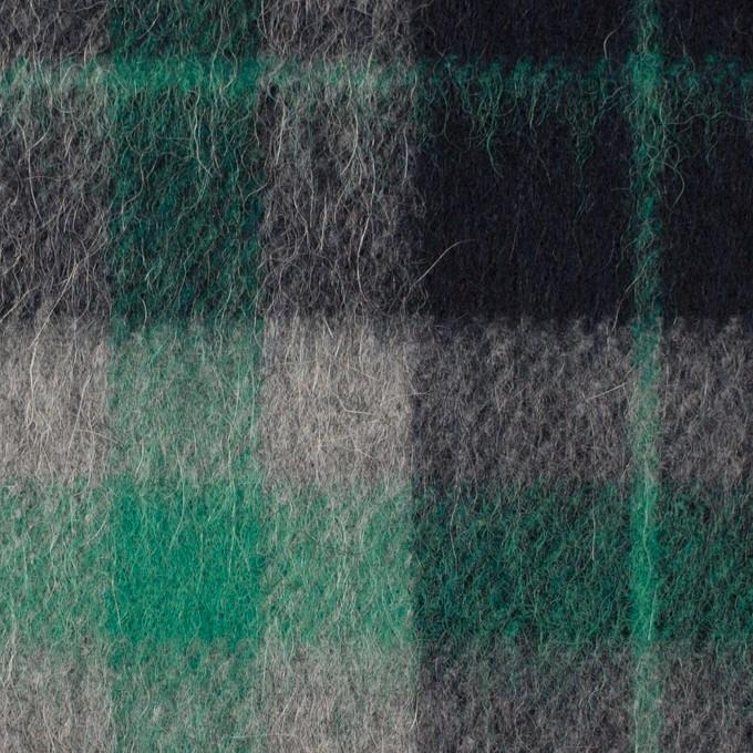 ウール&アルパカ混×チェック(グリーン、グレー&ブラック)×かわり織_全2色 イメージ1