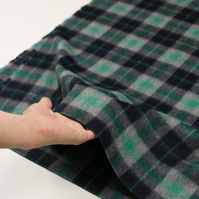 ウール&アルパカ混×チェック(グリーン、グレー&ブラック)×かわり織_全2色 イメージ5