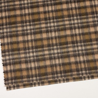 ウール&アルパカ混×チェック(ブラウン)×かわり織 サムネイル2