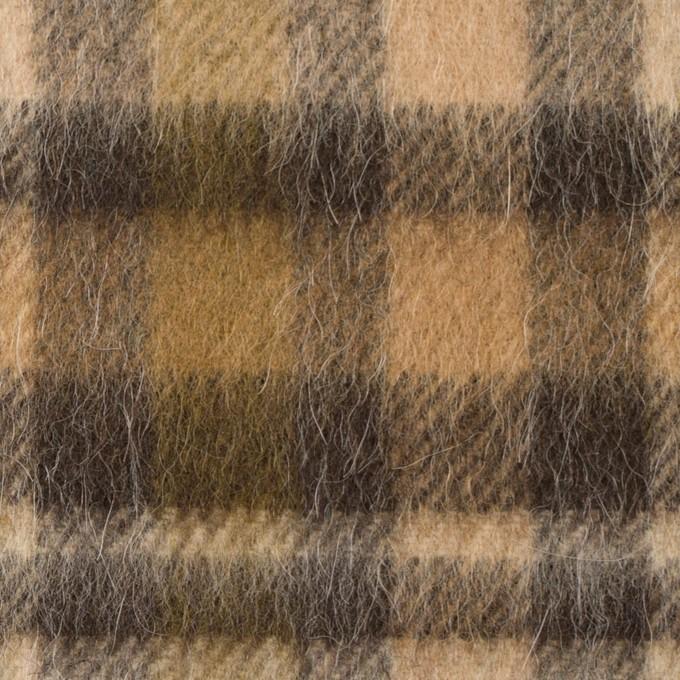 ウール&アルパカ混×チェック(ブラウン)×かわり織 イメージ1