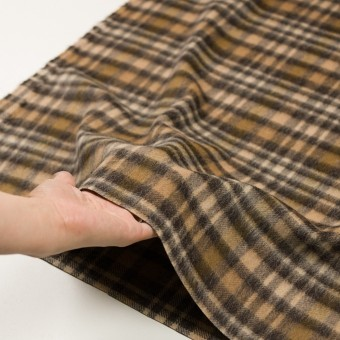 ウール&アルパカ混×チェック(ブラウン)×かわり織 サムネイル5