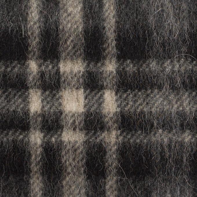ウール&アルパカ混×チェック(チャコールグレー)×かわり織 イメージ1