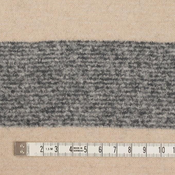 ウール&ナイロン×ボーダー(ベージュ&グレー)×ループニット イメージ4