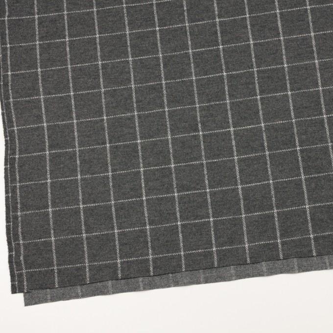 ウール&ナイロン×チェック(チャコールグレー)×Wニット イメージ2