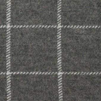 ウール&ナイロン×チェック(チャコールグレー)×Wニット サムネイル1