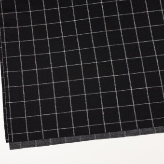 ウール&アクリル×チェック(ブラック)×Wニット サムネイル2