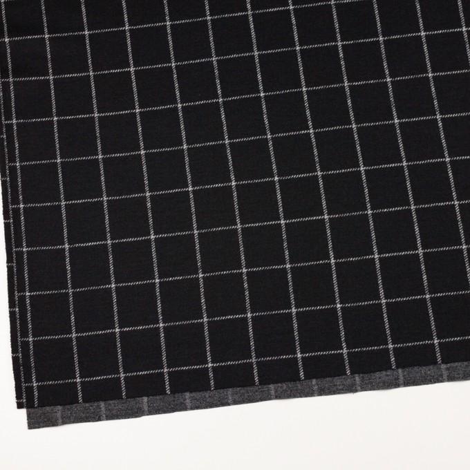 ウール&アクリル×チェック(ブラック)×Wニット イメージ2