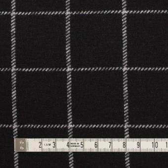 ウール&アクリル×チェック(ブラック)×Wニット サムネイル4