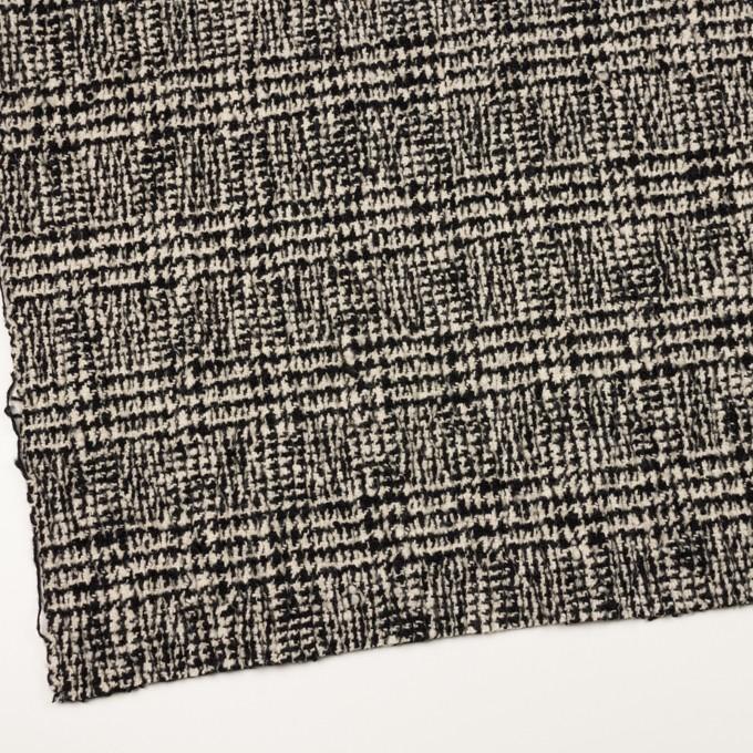 ウール&ポリウレタン×チェック(キナリ&ブラック)×ファンシーツイード_シャーリング イメージ2